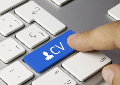 Curriculum vitae keyboard key. Finger