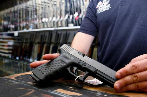 A Glock handgun available in a raffle promotion at Adventures Outdoors in Smyrna.